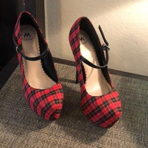 Plaid high heels